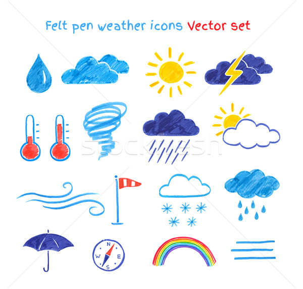Child drawings of weather symbols. Stock photo © Sonya_illustrations