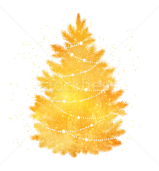 Gold Silhouette Of Christmas Tree Vector Illustration C Sofya