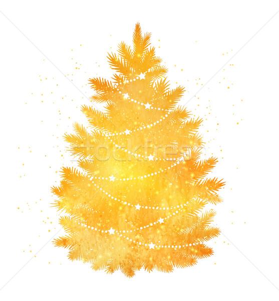 Gold Silhouette Of Christmas Tree Vector Illustration C Sofya