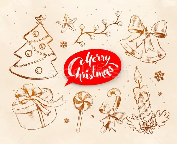 Karácsony klasszikus vonal művészet vektor szett Stock fotó © Sonya_illustrations