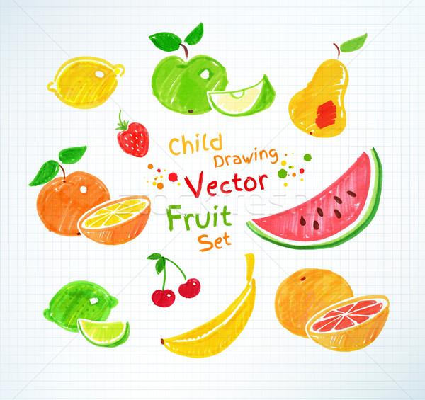 Felt pen drawings of fruit. Stock photo © Sonya_illustrations
