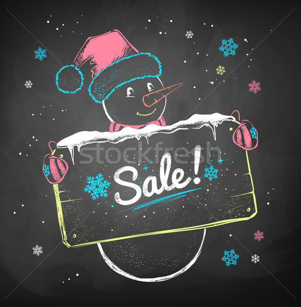 Snowman with sale signboard.  Stock photo © Sonya_illustrations