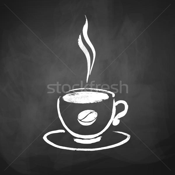 Copo café grão de café esboço quadro-negro Foto stock © Sonya_illustrations