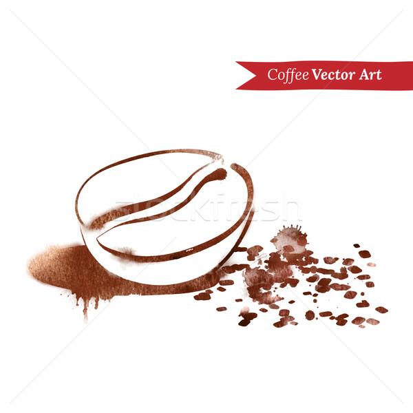 Kávébab kézzel rajzolt vízfesték rajz étel művészet Stock fotó © Sonya_illustrations