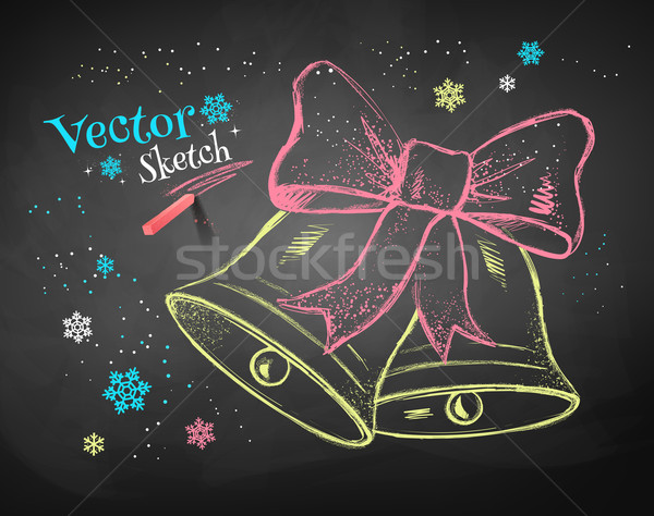 Navidad color tiza vector boceto negro Foto stock © Sonya_illustrations