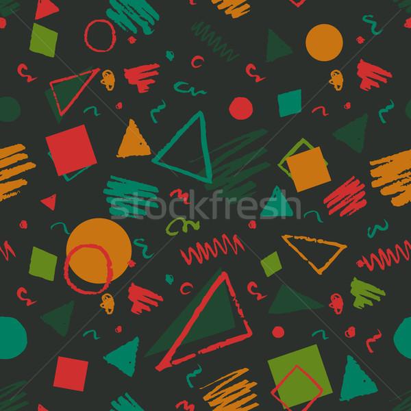 Meetkundig 1980 patroon donkere groene naadloos Stockfoto © Sonya_illustrations