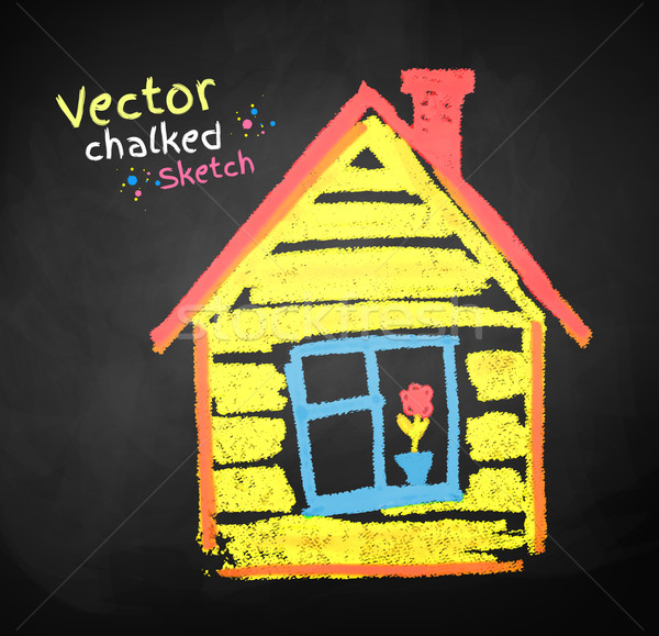 рисунок мелом дома рисунок аннотация дизайна домой Сток-фото © Sonya_illustrations