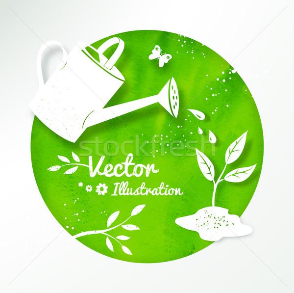 Kertészkedés vektor locsolókanna növekvő hajtás fehér Stock fotó © Sonya_illustrations