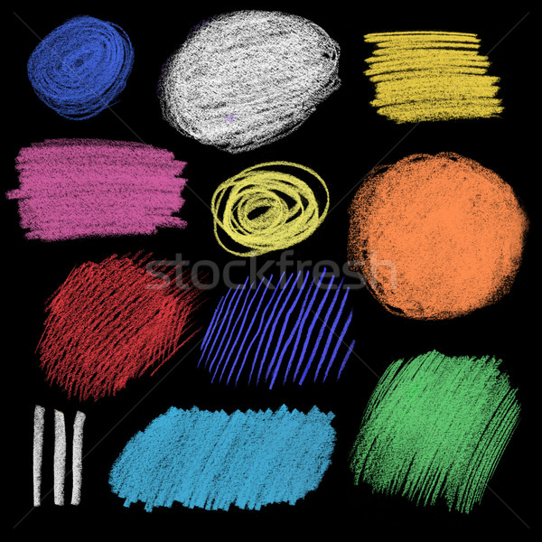Collection of color chalk hatching Stock photo © Sonya_illustrations
