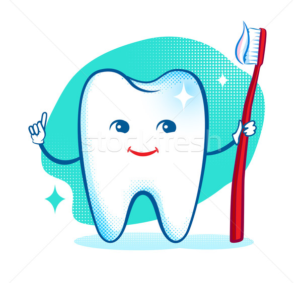 Cute healthy white shiny tooth character. Stock photo © Sonya_illustrations