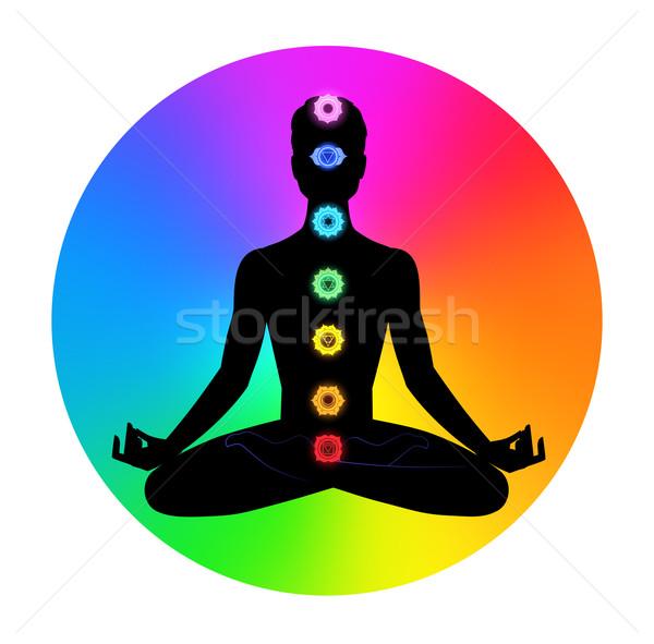 Man meditatie mannelijke silhouet gezondheid achtergrond Stockfoto © Sonya_illustrations
