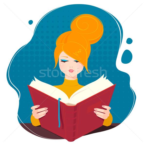 Girl reading a book. Stock photo © Sonya_illustrations