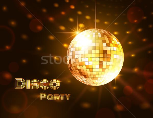 золото Disco Ball вектора иллюстрация музыку вечеринка Сток-фото © Sonya_illustrations