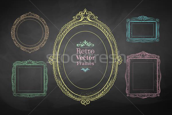 Chalk drawn vintage frames. Stock photo © Sonya_illustrations