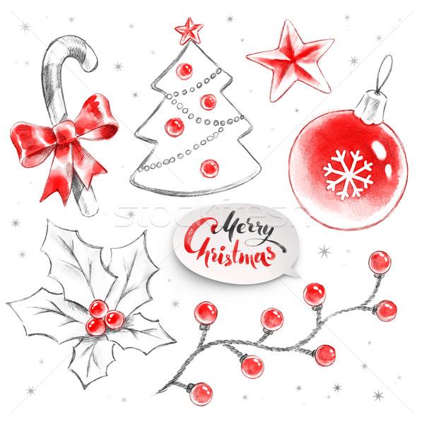 Kézzel rajzolt gyűjtemény karácsony tárgyak ceruza vízfesték Stock fotó © Sonya_illustrations