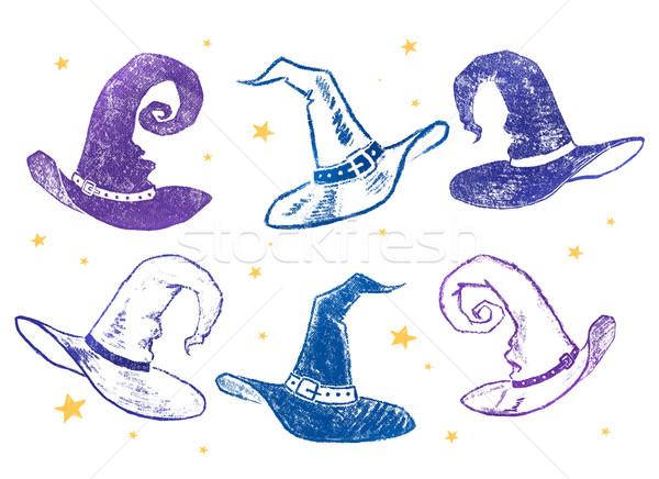 Kapelusz czarownicy kolekcja tle niebieski Zdjęcia stock © Sonya_illustrations