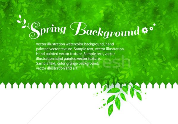 саду белый забор вектора листьев Сток-фото © Sonya_illustrations