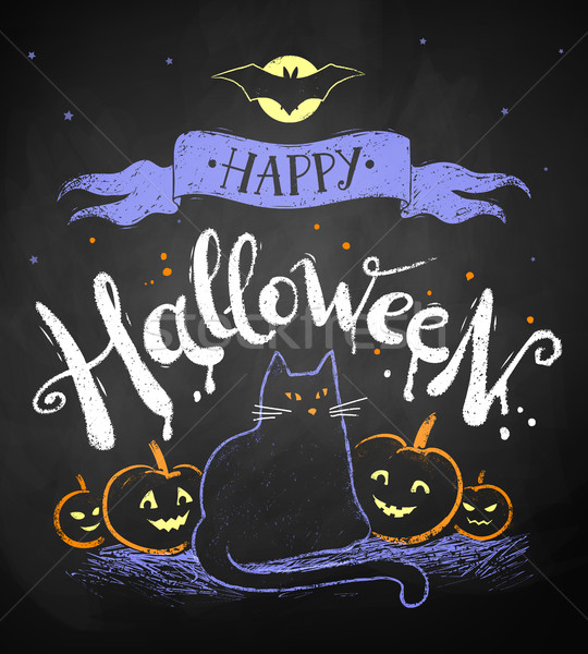 Stockfoto: Gelukkig · halloween · briefkaart · vector · kleur · krijttekening