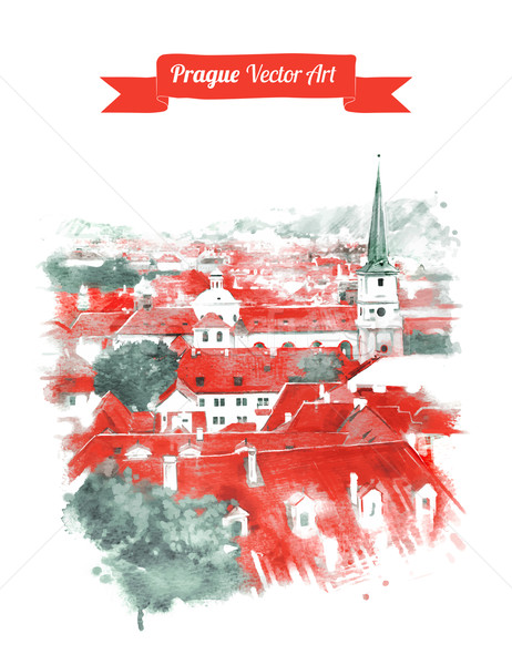 Oude Praag skyline vintage briefkaart Stockfoto © Sonya_illustrations