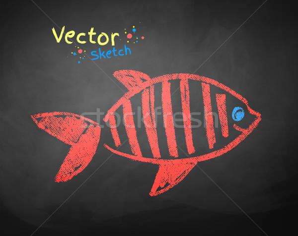 Dessin poissons enfants couleur école tableau noir Photo stock © Sonya_illustrations