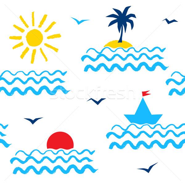 休暇 レトロな 1980 夏 ストックフォト © Sonya_illustrations