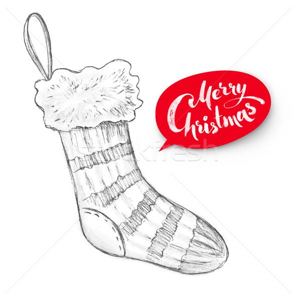 карандашом иллюстрация Рождества чулок рисованной графит Сток-фото © Sonya_illustrations