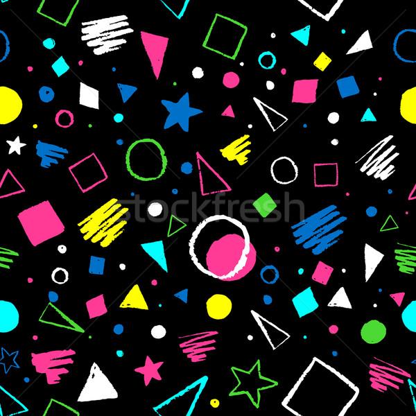 幾何学的な 1980 パターン 暗い シームレス サークル ストックフォト © Sonya_illustrations