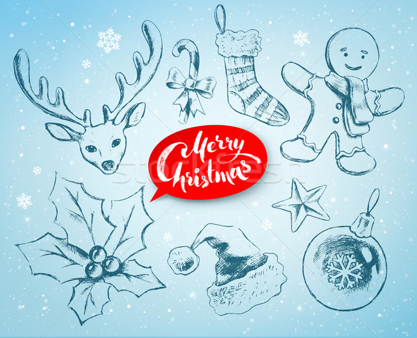 Stock photo: Christmas hand drawn line art vector set