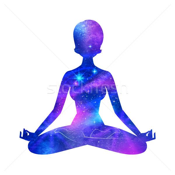 Meditáció női sziluett világűr absztrakt test Stock fotó © Sonya_illustrations