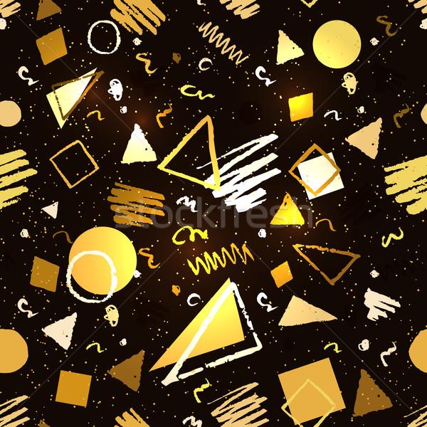Oro nero disegno geometrico senza soluzione di continuità grunge elementi Foto d'archivio © Sonya_illustrations