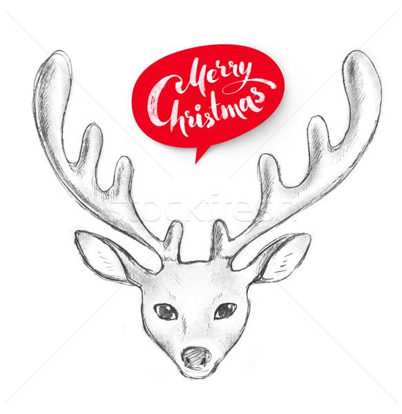 Illustratie cute christmas herten grafiet Stockfoto © Sonya_illustrations