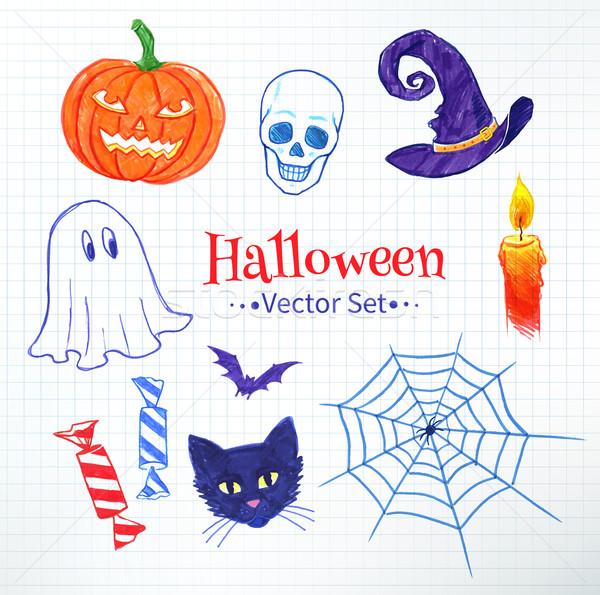 Halloween hand drawn felt pen doodles Stock photo © Sonya_illustrations