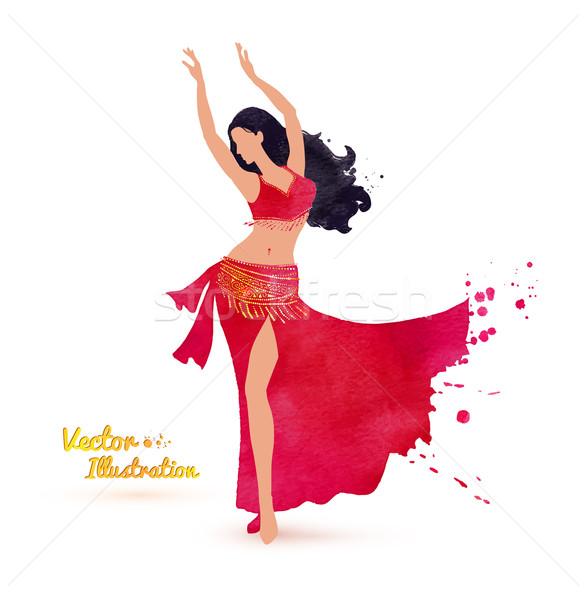 Stockfoto: Buik · danser · aquarel · kunst · meisje · dans