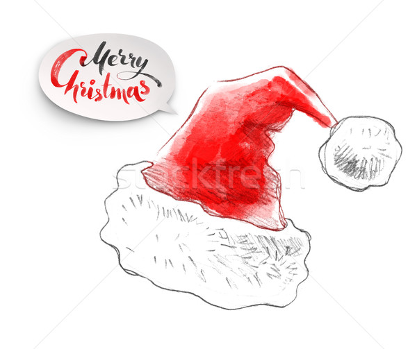 Christmas Santa Claus hat Stock photo © Sonya_illustrations
