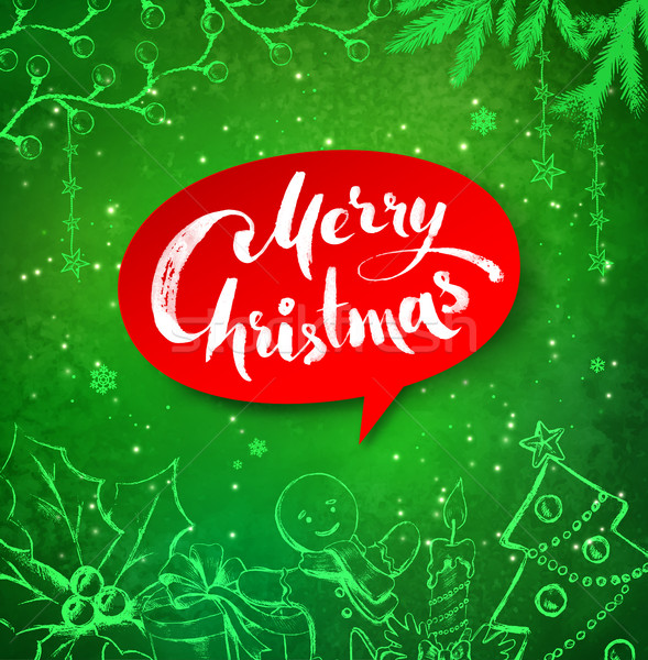 Christmas objects and banner with lettering Stock photo © Sonya_illustrations