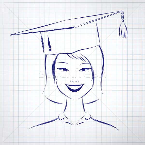 étudiant fille graduation chapeau asian Photo stock © Sonya_illustrations
