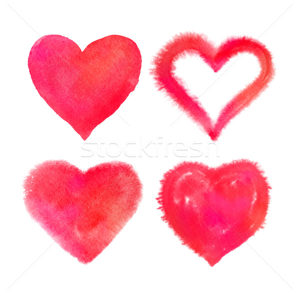 Red watercolor Valentine hearts Stock photo © Sonya_illustrations