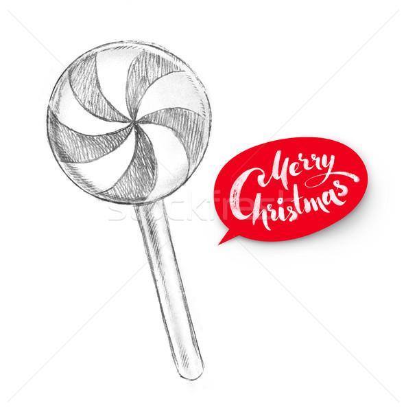 Ceruza illusztráció karácsony cukorka kézzel rajzolt étel Stock fotó © Sonya_illustrations