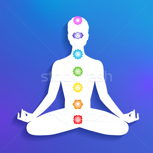 Stockfoto: Meditatie · mannelijke · silhouet · papier · man · abstract