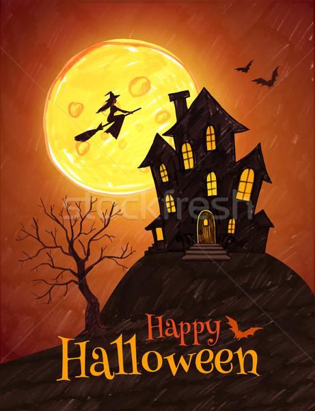 Halloween briefkaart pen tekening huis boom Stockfoto © Sonya_illustrations
