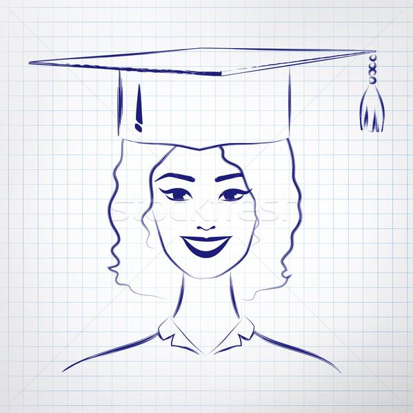 étudiant fille graduation chapeau vecteur Photo stock © Sonya_illustrations
