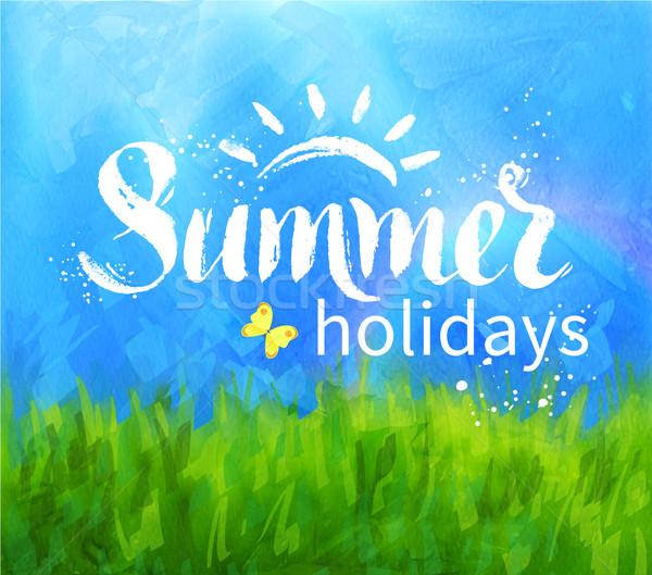 夏 休日 手描き ベクトル グランジ 手 ストックフォト © Sonya_illustrations
