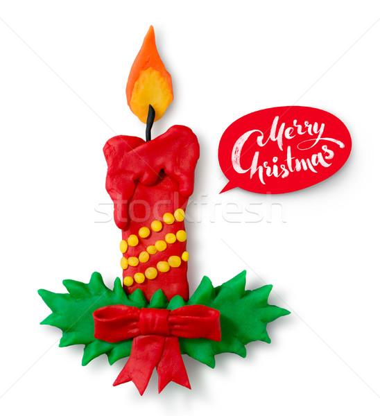 Kéz alkat karácsony gyertya árnyék piros Stock fotó © Sonya_illustrations