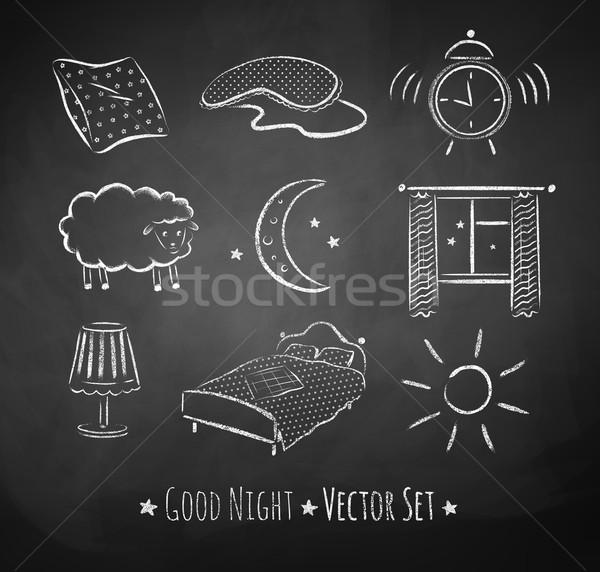 Good night vector sketchy set. Stock photo © Sonya_illustrations