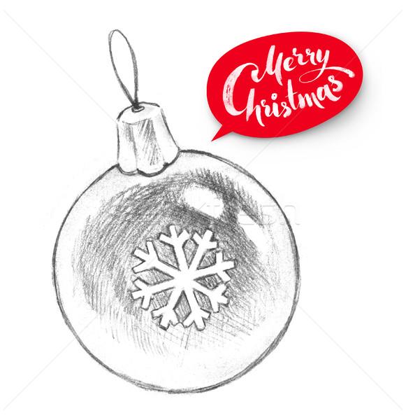 鉛筆 実例 クリスマス ボール 手描き スノーフレーク ストックフォト © Sonya_illustrations