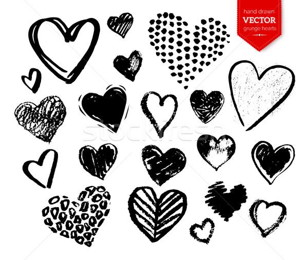 Gyűjtemény fekete grunge Valentin nap szívek vektor Stock fotó © Sonya_illustrations