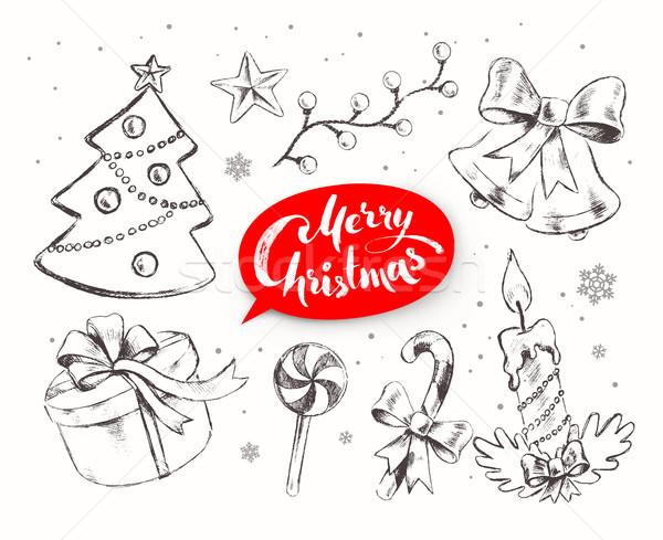 Karácsony vektor szett ünnepi tárgyak kézzel rajzolt Stock fotó © Sonya_illustrations