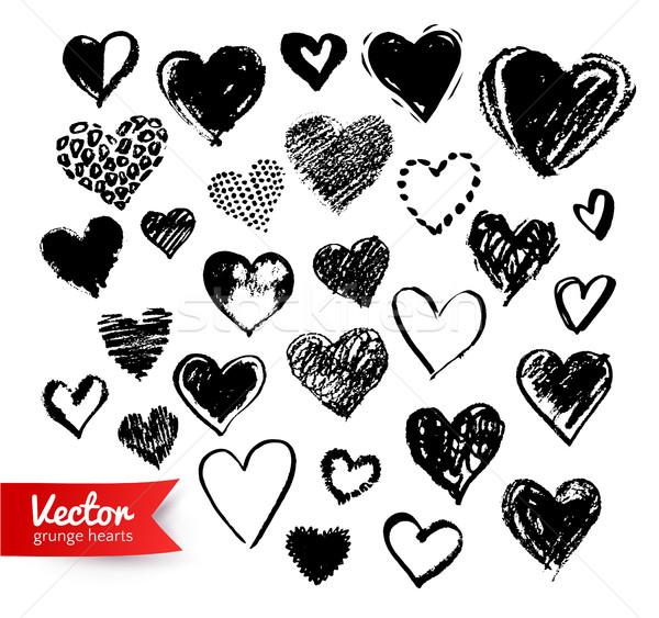 Dibujado a mano colección San Valentín corazones vector negro Foto stock © Sonya_illustrations