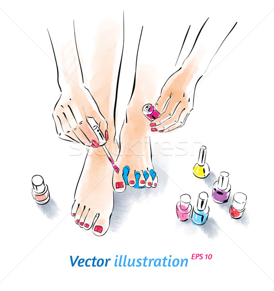 Home pedicure aquarel textuur handen kunst Stockfoto © Sonya_illustrations