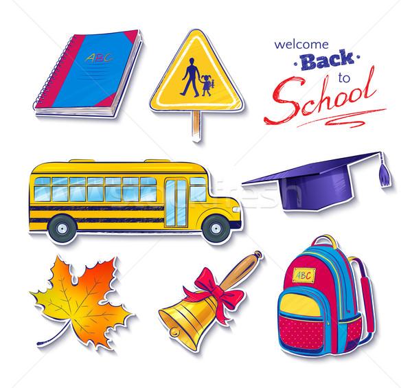 Vissza az iskolába vektor szett könyv háttér oktatás Stock fotó © Sonya_illustrations